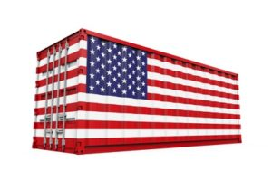 Container with United States Flag